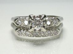 Vintage diamond wedding set, estimated 1950's - 1960's era styling. White gold, diamonds.