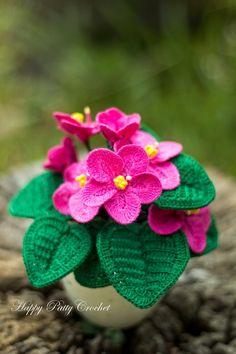 Crochet African Violet Pattern by Happy Patty Crochet
