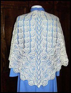 """""""Seigaiha"""" knit lace shawl in wool fingering weight yarn (pattern by Kitman Figueroa)"""