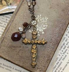 ❥ Antique Art Nouveau Victorian Cross Necklace