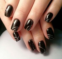 Best black nails of 2019 with silver jel glitter - Nail Art Designs Black Nail Designs, Nail Art Designs, Nails Design, Cute Nails, Pretty Nails, Hair And Nails, My Nails, Gold Nails, Black Nail Art