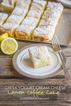 This Greek Yogurt Cream Cheese Lemon Coffee Cake is just what I need. I love the light lemon flavor, the sweet, moist coffee cake, and the crunchy, crumbly topping. And we all know I love using Greek yogurt whenever possible to lighten it up a little bit. Lemon Desserts, Lemon Recipes, Just Desserts, Baking Recipes, Sweet Recipes, Delicious Desserts, Cake Recipes, Dessert Recipes, Yummy Food