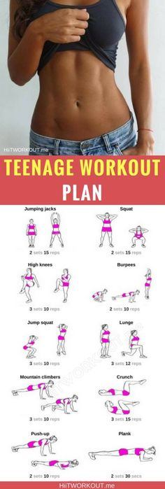 Home Workout Plan For TeenagersHere are a home workout plan for teenagers that would like to get fit, build some muscle and work out at home. These plan requires little to no equipment, so if you do not have much money that will not be a problem! These teenage workout plan for beginners should work for you! Fitness Workouts, Pilates Workout, Fitness Motivation, Gym Fitness, Workout Routines, Workout Tips, Fitness Sport, Fitness Humor, Cardio
