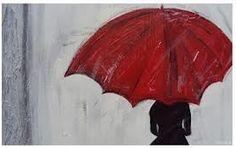 umbrella red & woman