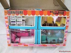 Hong Kong Made Boxed Vintage Plastic Dolls House Furniture