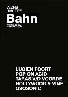 NOV 20TH 2015 W2N8 invites BAHN | DEN BOSCH NL | www.w2n8.nl