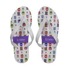 Colorful Cartoon Owls Custom Flip Flop Sandals