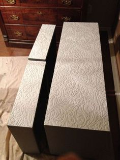 how to remove old veneer before and after metallic painted dresser, how to, painted furniture, paintable wallpaper added to drawer fronts