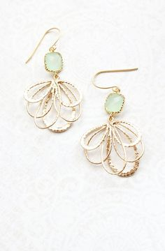 Mint Glass Earrings Modern Gold Dangle Fan Filigree Floral Earrings Pretty Feather Pale Light Green Bridesmaids Jewelry Gift for Girlfriend