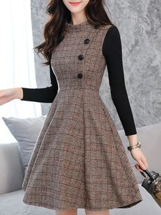 Round Neck Patchwork Single Breasted Plaid Skater Dress - be Frock Fashion, Indian Fashion Dresses, Girls Fashion Clothes, Teen Fashion Outfits, Mode Outfits, College Girl Fashion, Long Skirt Fashion, Grunge Outfits, 70s Fashion