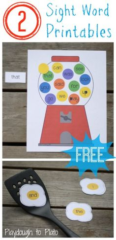 Gumball Machine and Egg Flip teach children to recognize 24 high frequency words - free printable!