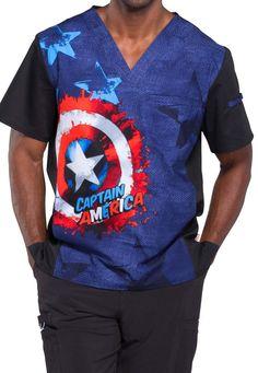Cherokee Tooniforms Medical Scrubs Captain America The Shield Top Sz S-XXL NWT #Tooniforms