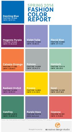 Pantone Spring 2014 color trends - Infographic by Ocreative Design Studio - http://www.ocreativedesign.com/blog/?ID=91