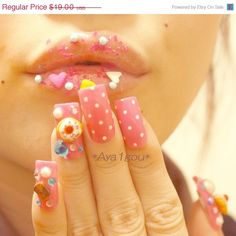 ON SALE 3D nails decoden gyaru Japanese nail art lolita by Aya1gou, $17.10