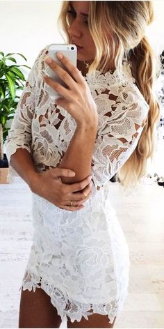 #summer #musthave #outfits  White Lace Little Dress