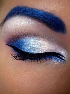 This is seriously awesome. (She has other pics of the look as well)  beautylish:    Check out Beautylish Beauty Tereska H.'s vibrant blue cat eye makeup - and with matching brows! Are you a fan of the colored brows trend?