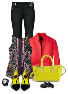 Office outfit: Black - Red - Lime by downtownblues on Polyvore