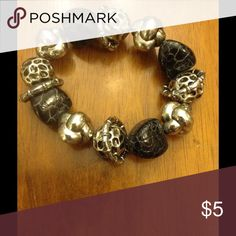 Black stone bracelet Black and silver stone bracelet Jewelry Bracelets