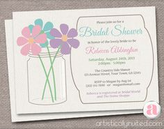 Rustic Mason Jar Bridal Shower Invitations