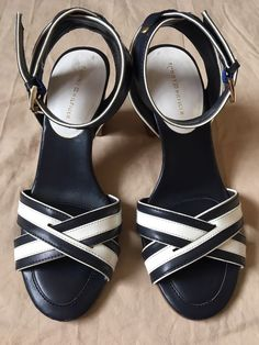 172fabc91b08 Tommy Hilfiger Women s Shoes Sz 7 Sandals Heels Navy White Leather Ankle  Strap  fashion  clothing  shoes  accessories  womensshoes  heels (ebay link)