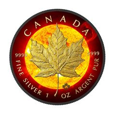 2015 RCM 1 Ounce Solar Flare Maple Leaf Ruthenium & Gold Colored Silver Coin Set - Art in Coins Canadian Maple Leaf, Canadian Coins, Bullion Coins, Gold Bullion, Maple Leaf Images, Silver Maple Leaf, Coin Shop, Silver Eagles, World Coins