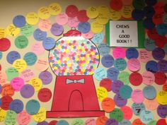 Chews a Good Book display @ DCG Elementary Libraries--It would be a great way to promote literacy at a school. Each grade level could have a specific color!