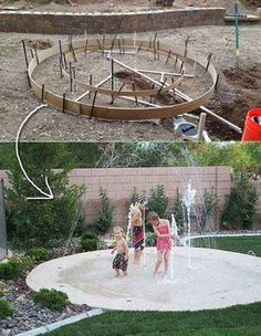 27 DIY Backyard Projects For Summer Are Extremely Cool Build a DIY splash pad so that your kids and even pets can enjoy this fun water feature at home.Build a DIY splash pad so that your kids and even pets can enjoy this fun water feature at home. Backyard Playground, Backyard For Kids, Backyard Patio, Backyard Landscaping, Landscaping Ideas, Playground Ideas, Backyard Splash Pad, Patio Ideas, Backyard Hammock