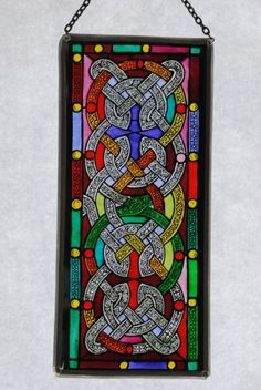 Stained glass Celtic knot panel based on a window in St Patrick's cathedral in Dublin