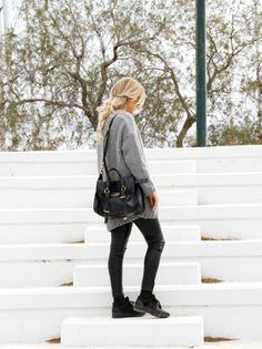#grey #streetstyle #braid #josieswall #chanel #mulberry #sneakers #leatherpants #inspo Josieswall.com Leather Pants, Braids, About Me Blog, Chanel, Street Style, Chic, Grey, Sneakers, Leather Jogger Pants
