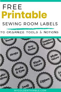 Download these free sewing organization labels for your tools and notions and get your sewing room organization started. Print at home. #sewingroomorganization #sewingroomorganizationideas #sewingroomwalldecorideas #sewingroomdecor Organizing Labels, Beading Tools, Free Printables, Buttons, Sewing, Dressmaking, Couture, Free Printable, Stitching