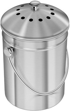Utopia Kitchen Liter] Stainless Steel Compost Bin for Kitchen Counter-top - Compost Bucket Kitchen Pail Compost with Lid - Includes 1 Spare Charcoal Filter Best Compost Bin, Kitchen Compost Bin, Compost Container, Compost Bucket, Kitchen Waste, Kitchen Dining, Compost Tumbler, Kitchen Board, Home