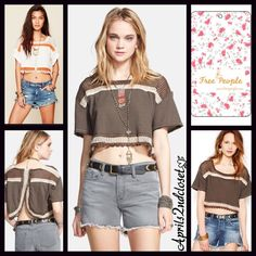 """Free People Crop Top Cropped NEW WITH TAGS Retail: $78 Free People Cropped Tee * A cropped style * Incredibly soft knit fabric & open weave detail * Short wide sleeves & an envelope open back  * About 17"""" long  * Relaxed fit; Festival Ready  Fabric: Cotton, polyester, & rayon blend; Machine wash Color: Deep Mocha   Item:FP12400  No Trades ✅ Offers Considered*✅ *Please use the blue 'offer' button to submit an offer. Free People Tops Crop Tops"""