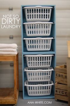 Laundry room organization...and when I have a laundry room someday I will do this. Bin for each person/bedroom!