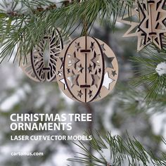 Looking for free Christmas decorations? Download these wonderful templates and create your own beautiful, unique, and festive Christmas decorations. Project plans of Christmas tree ornaments ready for laser cut.