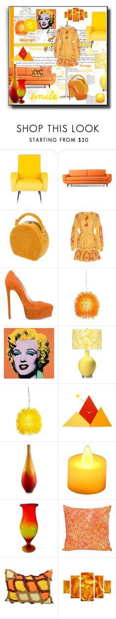 """Orange & Yellow"" by kelly-floramoon-legg on Polyvore featuring Safavieh, Joybird, Bertoni, Casadei, Varaluz, Andy Warhol, Progetti, Cyan Design, LumaBase and Blenko"