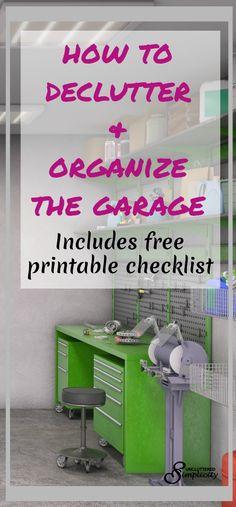 declutter garage | organize garage | declutter garage printable checklist |