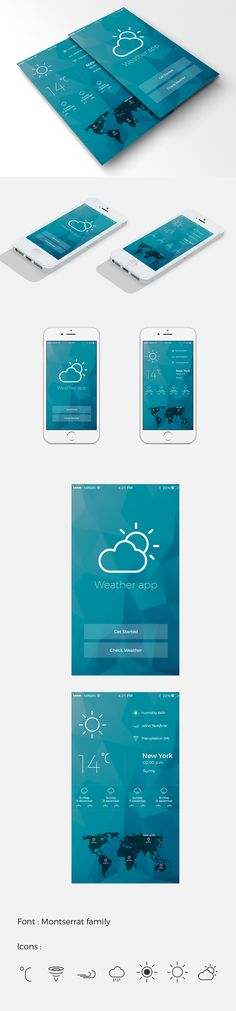 mobile/IOS weather app design on Behance