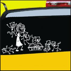 CRAZY CAT LADY STICK FIGURE FAMILY your crazy cat lady stick figure family can be applied to any Dry Clean surface Your Funny Vinyl Decal Sticker comes in ...