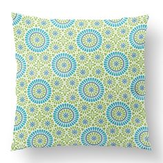 "18"" Custom Outdoor Circle Daisy Cushion  Circle Daisy Item# CC-OD0002 100% Polyester Cover 100% Polyester Fill Lime Custom Outdoor Cushions, Fill, Daisy, Tapestry, Shapes, Throw Pillows, Texture, Cover, Prints"
