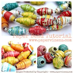 Paper Bead Tutorial Fun making beads with colorful scrapbook papers. These could even be made to coordinate with school clothes, summer outfits or special occasions like weddings.