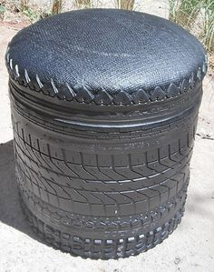 recycled rubber tyre stool from Morocco
