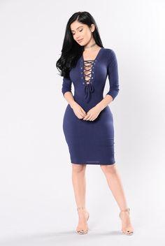 Laces More Dress - Navy