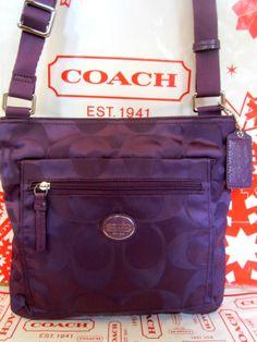 NWT COACH SIGNATURE Nylon File Crossbody Bag Purse Handbag 77408 F77408 Amethyst