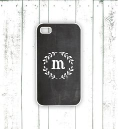 Chalkboard iPhone Case - Monogrammed iPhone Case with Laurel - Personalized Gift for iPhone - Printed Chalkboard Background