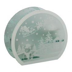 Snowman and Santa Scene Glass Tea Light Holder