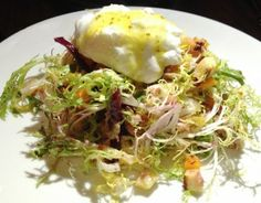 At Pounds and Ounces, Chelsea, NYC --Don't miss the poached egg topped duck confit salad with frisee, diced roasted butternut squash and pickled in a light maple Dijon vinaigret...