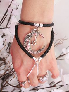 Moon Star Leather Slave Bracelet Bracelet by TheMysticalOasisGlow, $30.00