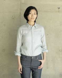 Lean Shirt: Frosty Blue. Fog Linen.