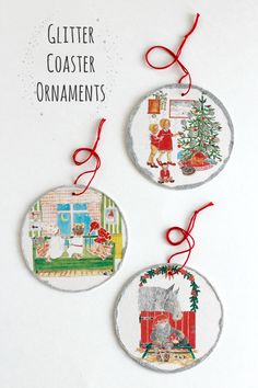 Glitter Coaster Ornaments