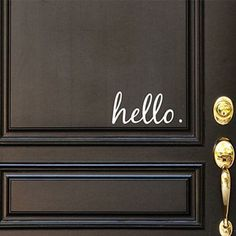 Hello Front Door Greeting Decal, Front Door Decal